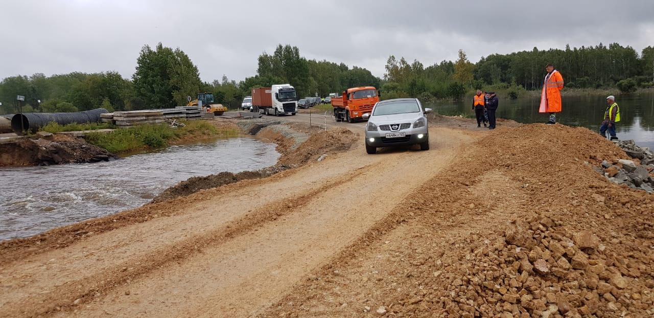 В ЕАО продолжают устранять последствия паводка на участке трассы Р-297 «Амур»