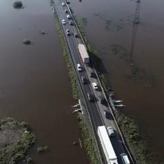 Участок федеральной трассы Р-255 «Сибирь» после паводка в Тулуне Иркутской области